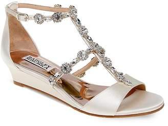 Badgley Mischka Terry Embellished T Strap Wedge Sandals
