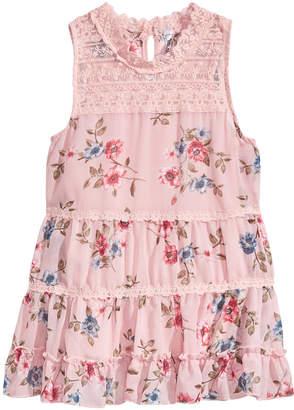 Beautees Floral-Print Ruffle Tank-Top, Big Girls
