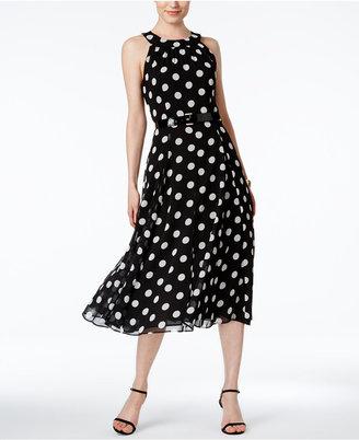 Tommy Hilfiger Polka-Dot Belted Halter Dress $134 thestylecure.com