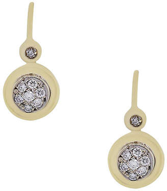 One Kings Lane Vintage 18k Yellow Gold Diamond Dangle Earrings