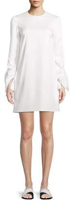 Rosetta Getty Crewneck Ruffle-Sleeve Shift Stretch-Ottoman Mini Dress