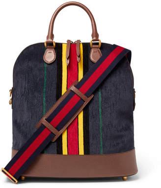 Full-Grain Leather-Trimmed Velvet Bag