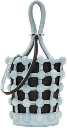 Alexander Wang Black and Blue Denim Mini Roxy Cage Bucket Bag