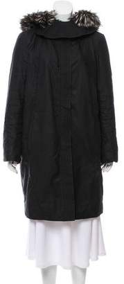 Helmut Lang Knee-Length Fur-Lined Coat