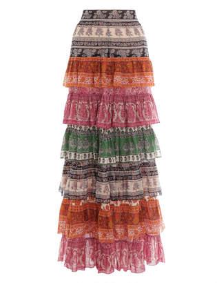 Zimmermann Amari Tiered Midi Skirt