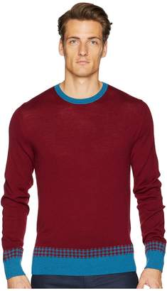 Etro Crew Neck Check Trim Sweater Men's Sweater