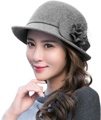 3d31156ee3e3e Siggi 100% Wool Felt Cloche Hat for Women 1920s Vintage Derby Tea Party  Bucket Bowler