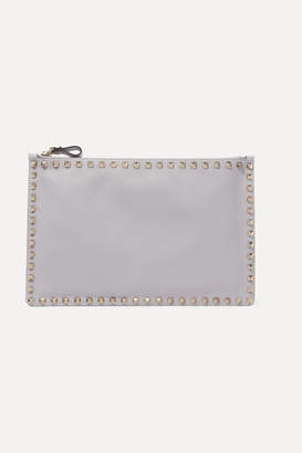 Valentino Garavani The Rockstud Large Leather Pouch - Gray