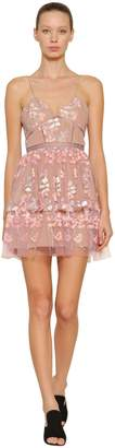 Self-Portrait Embellished Tulle Mini Dress