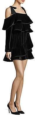 Petersyn Women's Tasha Velvet Ruffle Dress