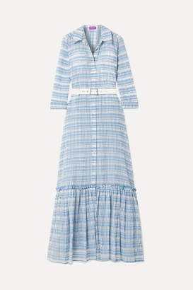 STAUD Rose Belted Checked Organza Maxi Dress - Sky blue