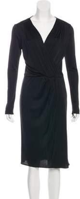 Blumarine Long Sleeve Midi Dress Black Long Sleeve Midi Dress