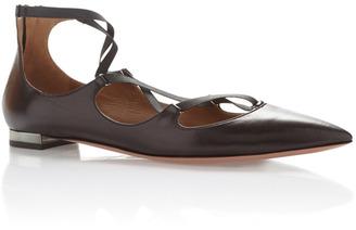 Aquazzura Mischa Leather Flat $725 thestylecure.com