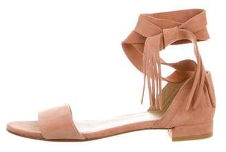 Stuart Weitzman Suede Tie-Up Sandals