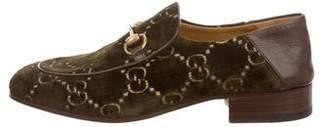 Gucci GG Velvet Horsebit Loafers