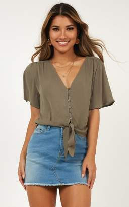 Showpo All Loved Up Top In khaki linen look - 12 (L) Crop Tops