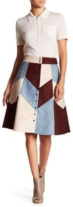 Gracia Faux Suede Patched Button Up Skirt