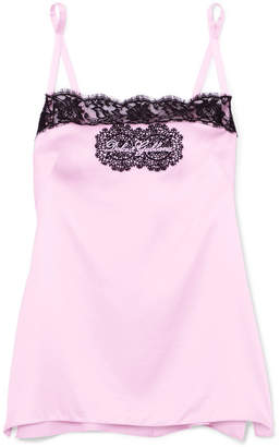 Dolce & Gabbana Embroidered Lace-trimmed Stretch Silk-blend Satin Camisole - Lilac