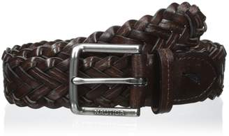 Nautica Boys' 35mm Braided Belt with Logo Buckle