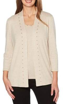 Rafaella Heatset Studded Cotton Cardigan