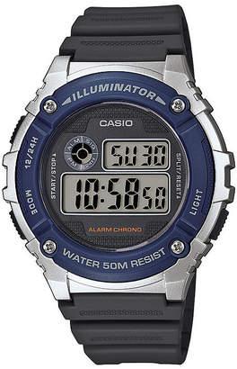 Casio TABLE Illuminator Mens Blue Bezel Black Resin Strap Digital Watch W216H-2AV