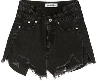 Ground Zero frayed denim shorts