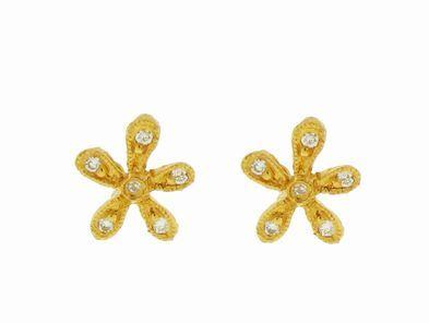Cathy Waterman Small Diamond Daisy Studs in 22 Karat Gold
