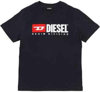Diesel Flocked Logo Cotton Jersey T-Shirt