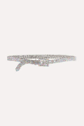 Black & Brown Crystal-embellished Silver-tone Belt - Pastel pink