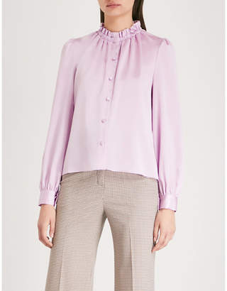 Co Ruffled-trim satin blouse
