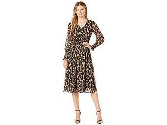 Taylor Dresses Women's 3/4 Sleeve Animal Printed Smocked Midi Dress