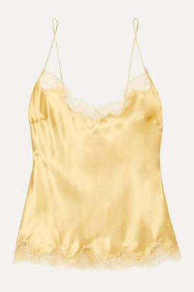 Carine Gilson Chantilly Lace-trimmed Silk-satin Camisole - Gold