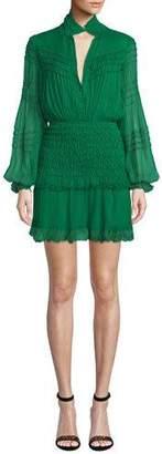 Alexis Shaina Smocked Blouson-Sleeve Ruffle Dress