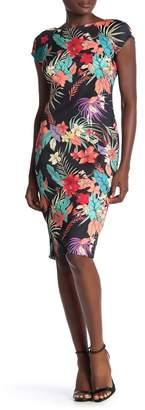 ECI Tropical Floral Print Scuba Dress