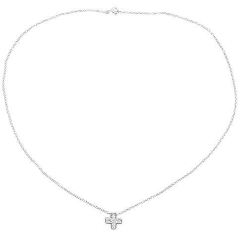 Sterling Silver Necklace Mini Cubic-Zircona Charm On Curb Chain - 18