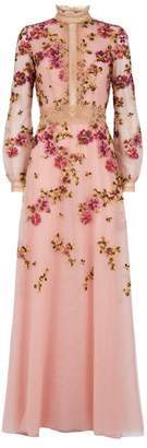 Costarellos Floral Embroidered Tulle Gown