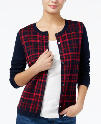 Tommy Hilfiger Marilyn Sparkle Plaid Cardigan, Only at Macy's $69.50 thestylecure.com