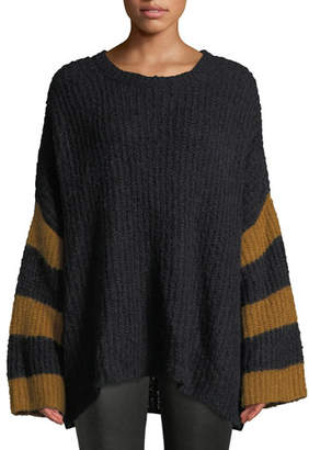 A.L.C. Lorenzo Crewneck Striped Long-Sleeve Alpaca-Blend Sweater