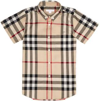 Burberry House Check Print Short Sleeve Shirt (4 Years - 12 Years)