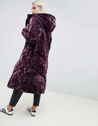 Asos DESIGN longline velvet padded jacket