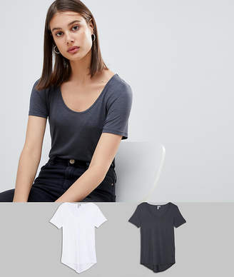 Asos T-Shirt With Scoop Neck And Curved Hem 2 Pack