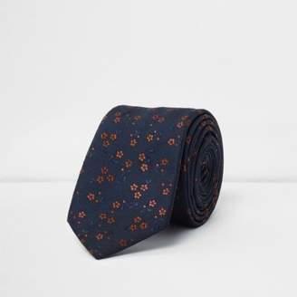 River Island Mens Navy floral tie