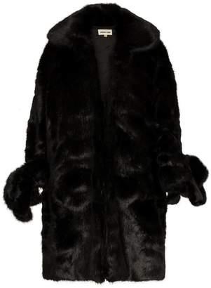 Shushu/Tong Knee Length exaggerated cuff faux fur coat