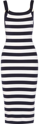Michael Kors Collection - Striped Stretch Merino Wool-blend Dress - Midnight blue $950 thestylecure.com