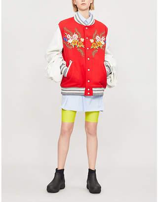 Junya Watanabe Oversized-sleeve wool-blend and leather bomber jacket