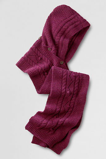 Lands' End Women's Popcorn Cable Hooded Scarf