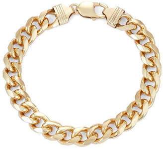 FINE JEWELRY Mens 18K Yellow Gold Over Silver 9, 9.7mm Curb Chain Bracelet