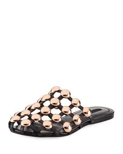 Alexander WangAlexander Wang Amelia Jewel-Studded Flat Leather Mule, Black