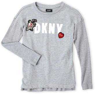 DKNY Girls 4-6x) Glitter Logo Long Sleeve Tee