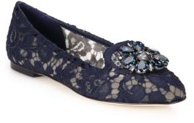 Dolce & Gabbana Embellished Lace Loafers $845 thestylecure.com